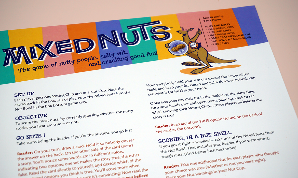 mixed nuts game instruction sheet