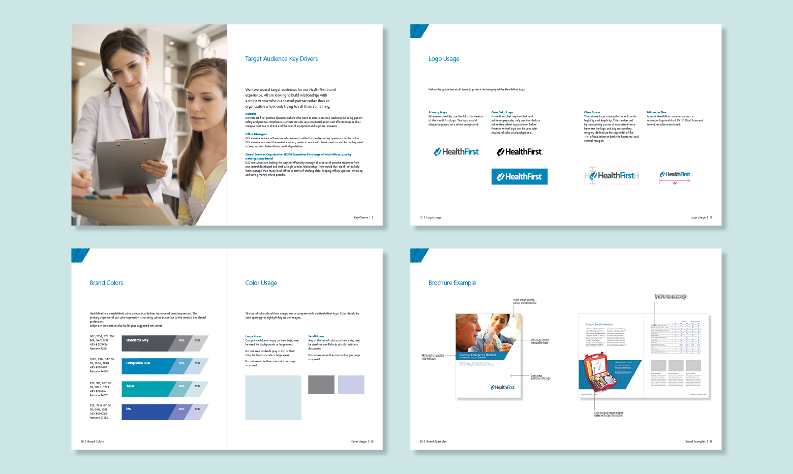 HealthFirst brand guideline pages