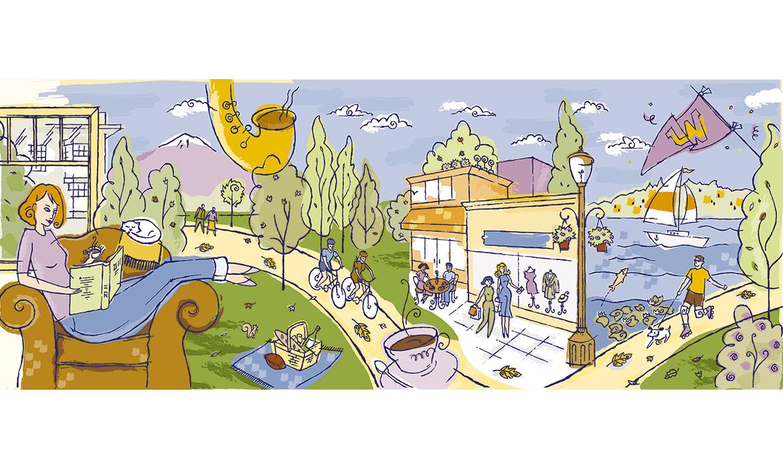 illustration for Blakely Commons condominium marketing materials