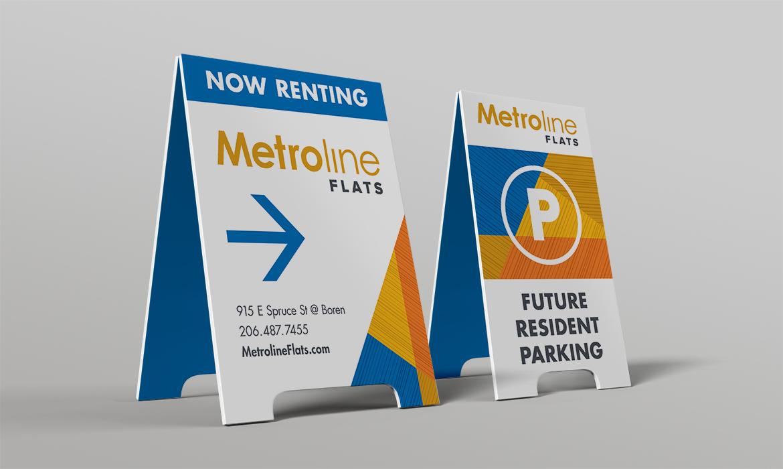 Metroline Flats marketing signs