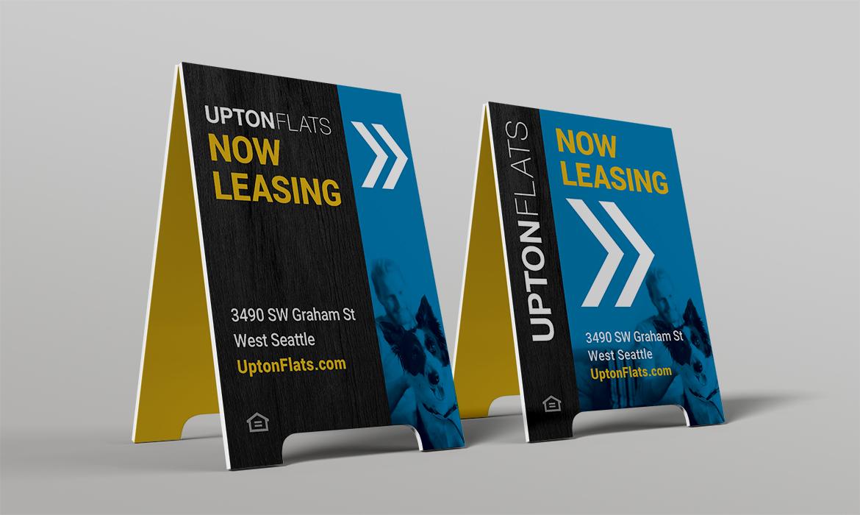 Upton Flats marketing signs