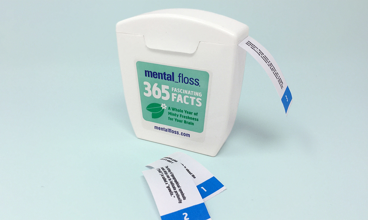 floss box label and trivia strip
